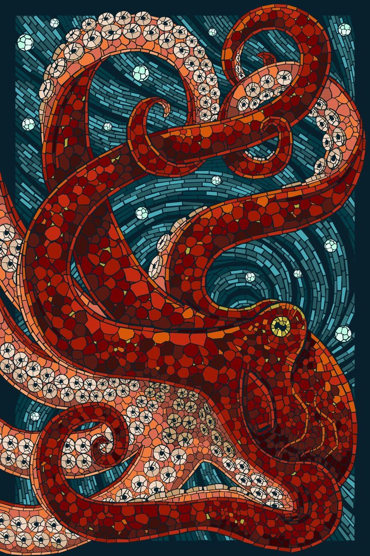 Beautiful octopus mosaic. Love the blue and orange. Classic complementary color palette. Fun fact: Octopi are smarter than our cats.