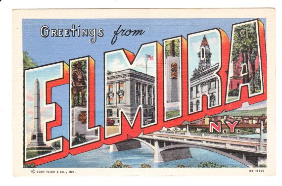 Elmira New York Vintage Big Letter Postcard by PicturesFromThePast