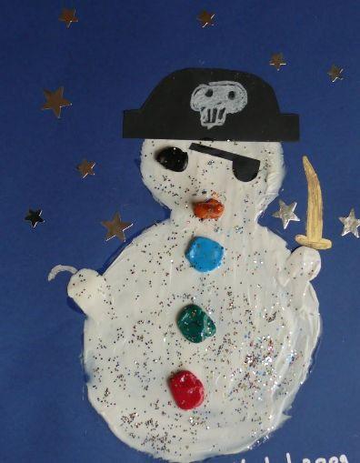Muñeco de nieve pirata. Tapa álbum escolar 1r trimestre proyecto los piratas