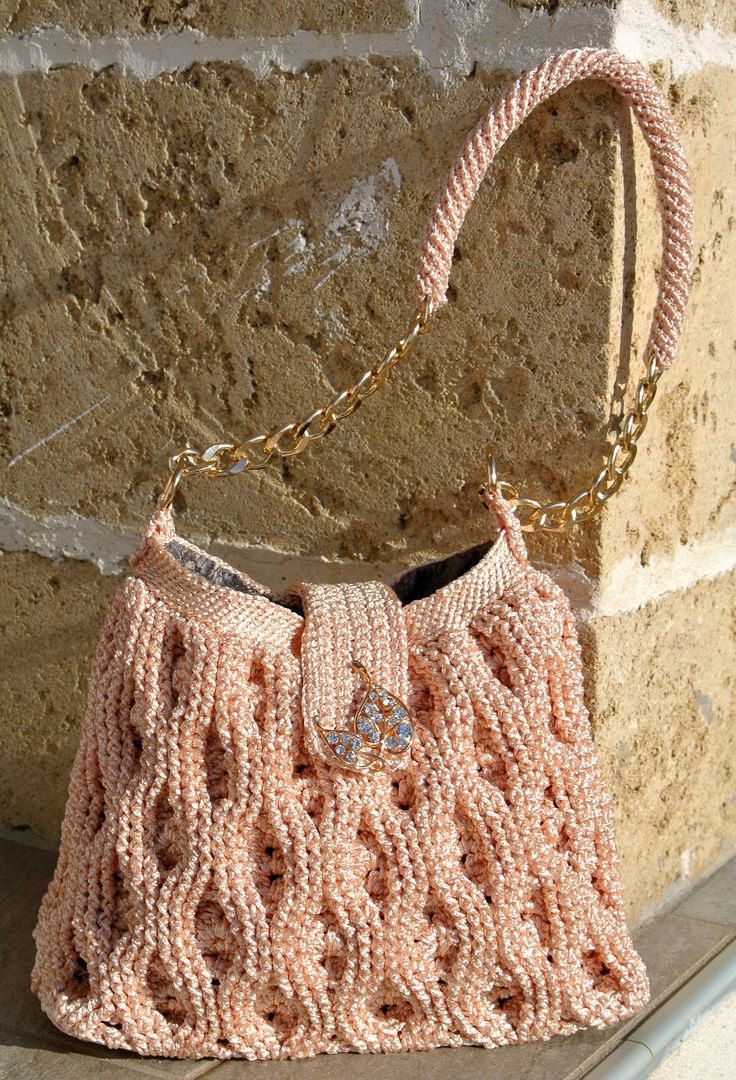 Bag crochet in cordino lucido rosa pesco con manico da spalla e fodera in…