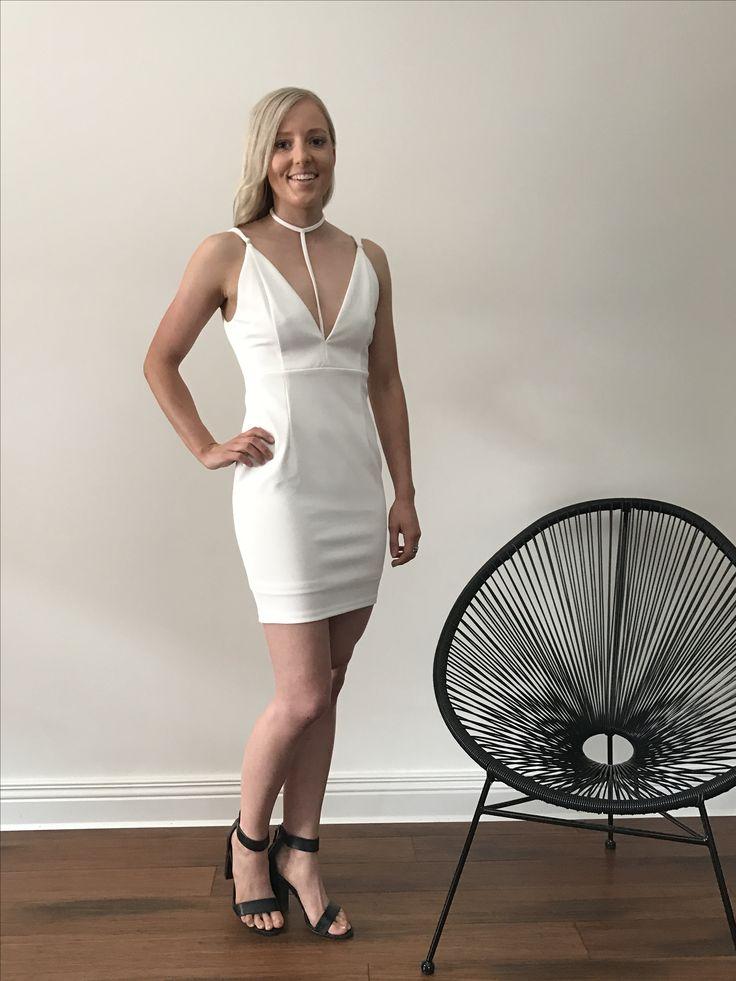 T-Bar Mini Dress in White
