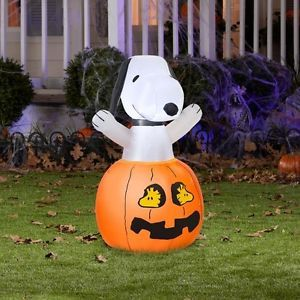 "36""H Inflatable Snoopy Pumpkin Halloween Thanksgiving Lighted Fall Yard Decor 