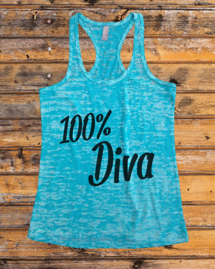100% Diva 1135 Womens Funny Burnout Style Racerback Workout Tank Top Running Workout Gear Gym Wear Athletic Christmas Gift Ladies Gym Tank by RBClothingCo on Etsy