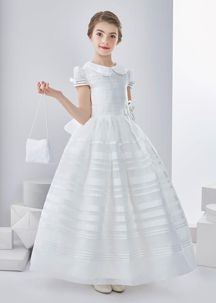 Ball Gown High Neck Short Sleeve Bow(s) Floor-length Organza Communion Dress