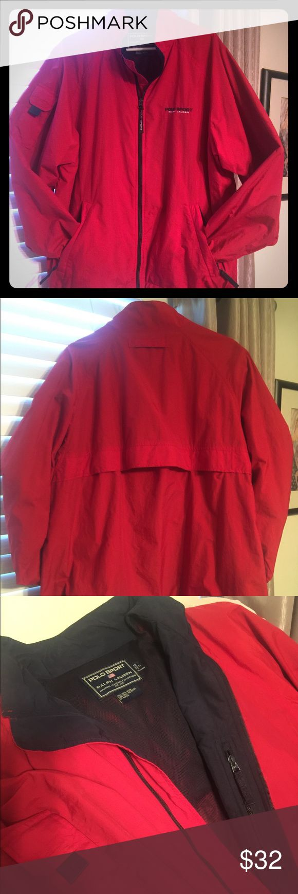 Ralph Lauren Polo Sport Jacket. Men's Polo Sport Nylon Windbreaker, Primary color Red with Navy blue trim. Full zipper front closure. Pocket on right sleeve.  Two front waist welt zip pockets. Additional inside pocket. Drawstring at the right and left side of hem.  Excellent condition. Polo by Ralph Lauren Jackets & Coats Windbreakers
