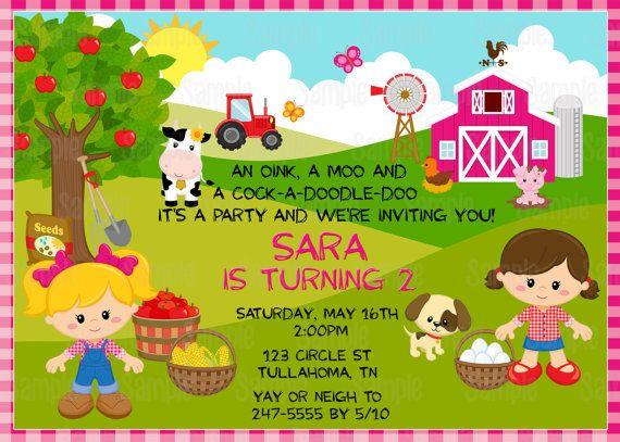 Imprimible fiesta invitación del cumpleaños de granja chica