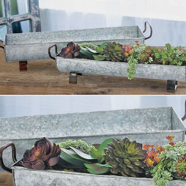 Galvanized Trough 2 Piece Set Tray Decor Centerpiece Succulent Centerpiece Dining Room Galvanized Trough