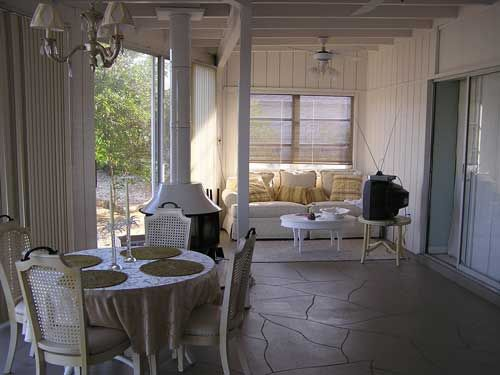 Love the outdoor window seat area patios pinterest for Sunroom tile floor ideas