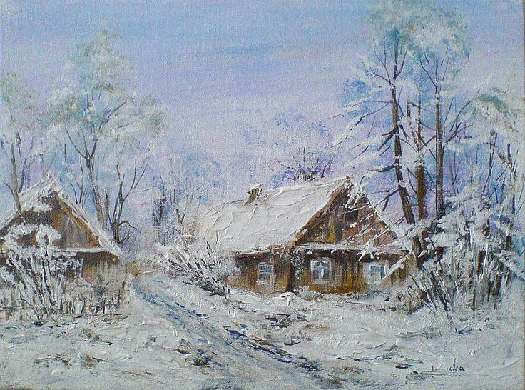 Zima na Podlasiu - obraz akrylowy  Maria Roszkowska
