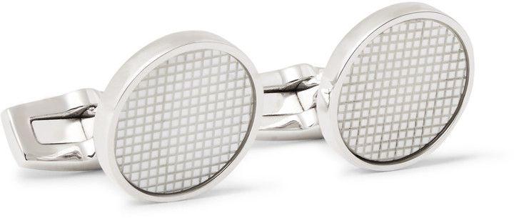 Hugo Boss Herbert Engraved Silver-Tone Mother-of-Pearl Cufflinks