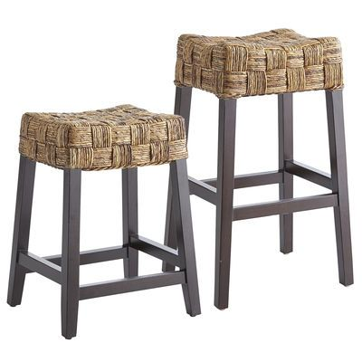 With its sturdy, squared base of mango wood and chunky-comfy banana bark seat, the island-inspired Riley Backless Bar Stool is a natural for casual entertaining.