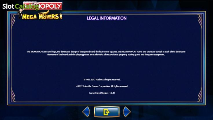 Paytable 8. Monopoly Mega Movers (Video Slot from SG)