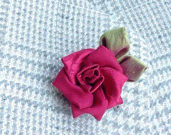 Red Rose Silk Lapel Flower Mens Lapel Pin Flower Lapel Pin Rose Boutonniere Custom Lapel Pins Men Groomsman Gift For Men Kanzashi Wedding