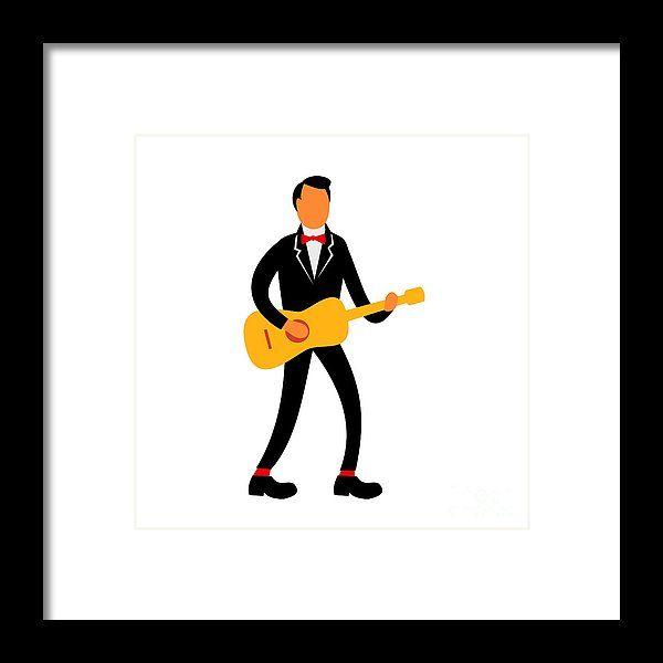 Retro Framed Print featuring the digital art Guitarist In Tuxedo Playing Guitar Retro by Aloysius Patrimonio