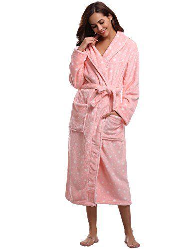 006a7cf69cdd59 Aibrou Bademantel Damen Winter Morgenmantel super weiches flauschiges coral  fleece warmer Schlafanzug Nachtwasche aus Flanell Saunamantel Fr… | PINSHOP  ...