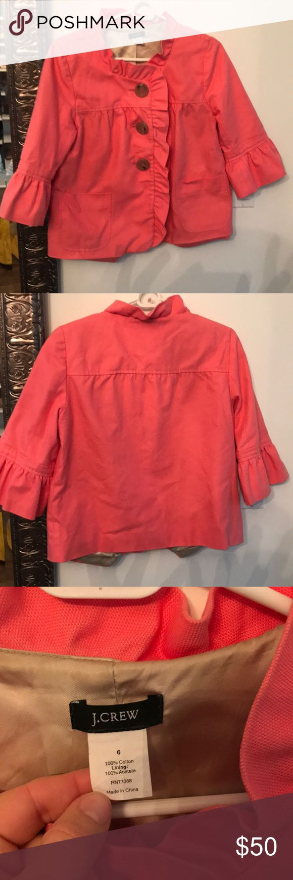 J. Crew coral jacket Jcrew jacket size 6 great condition! Pet free smoke free J. Crew Jackets & Coats Blazers