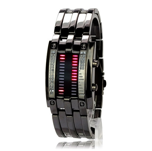 Stylish Ferreous Army Style LED Watch with 28 Red LED (black)