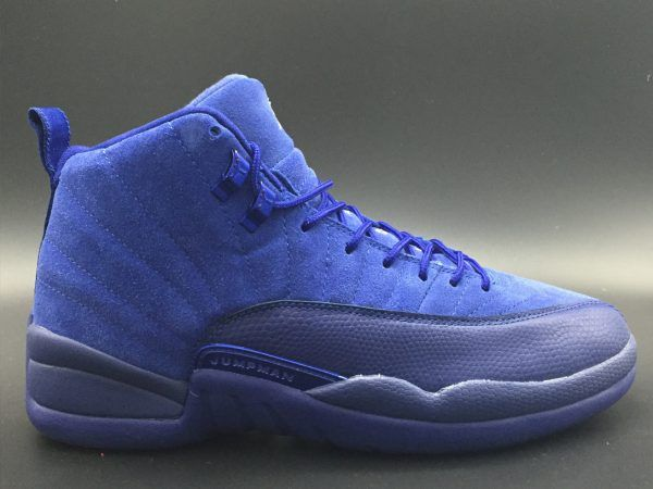 huge selection of 97bee b1d9d Air Jordan 12 Blue Suede Deep Royal Blue and White-Metallic Silver For Sale