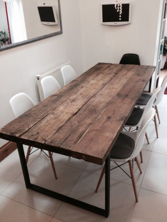 Reclaimed Industrial Chic 6 8 Seater Dining Table Bar Cafe Etsy