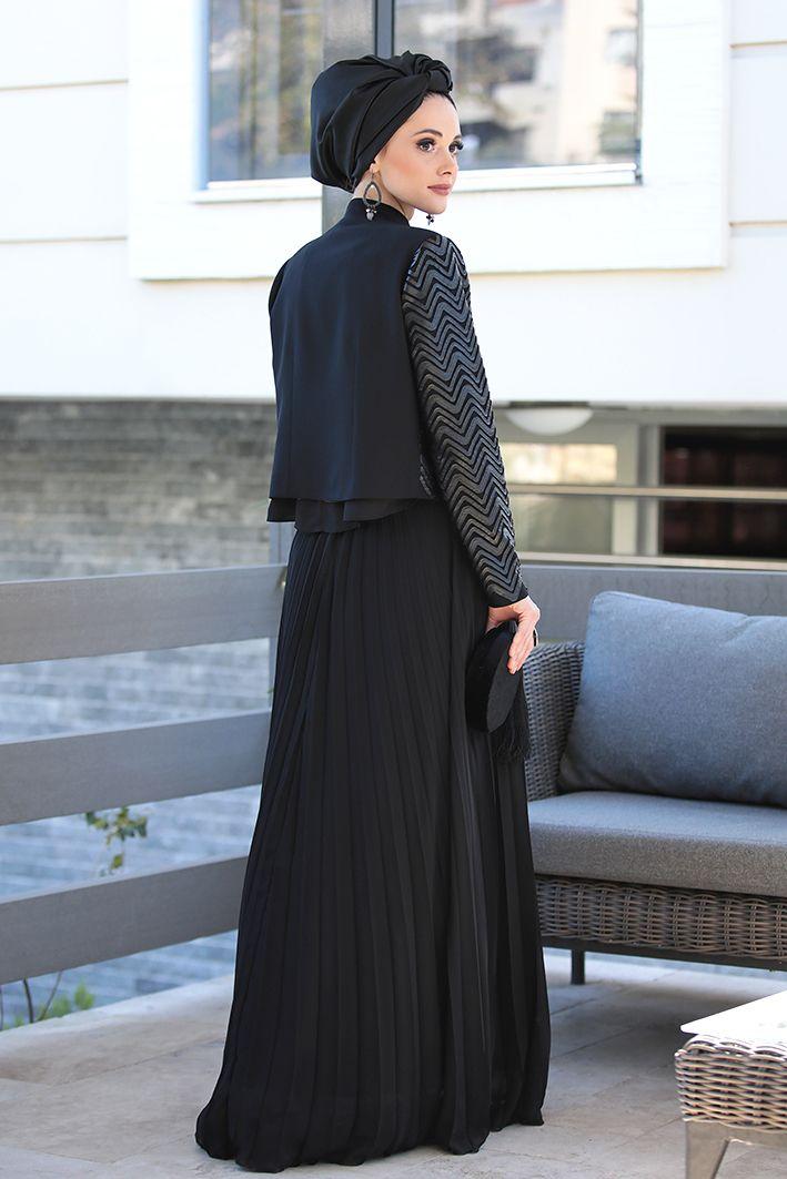 Tesettur Abiye Elbise Tunik Modelleri Nilufer Kamacioglu Deri Detayli Ceket Bluz Plise Etek Takim Basortusu Modasi Moda Stilleri Elbise