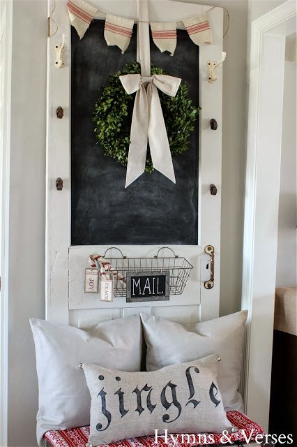 Christmas Old Door Decoration: the mail crate and vintage french linen banner are sweet touches