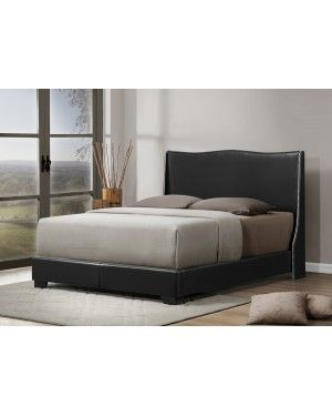 shop for baxton studio duncombe black modern bed with upholstered headboard queen size get free shipping at your online furniture outlet store - Modern Beds