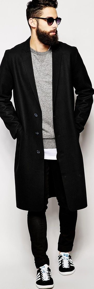 Black & Grey - Black coat, grey shirt, black pants, sneakers and sunglasses. JustBeStylish.com