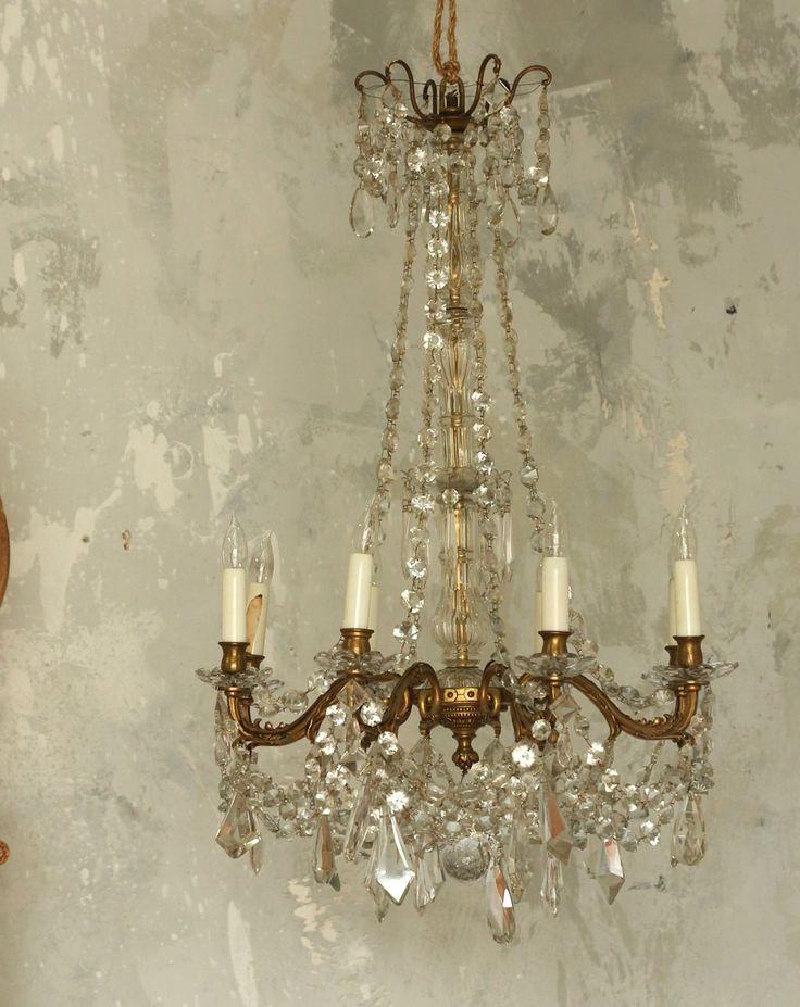 Antique European Crystal Chandelier Eight Arm French patinaChandelier