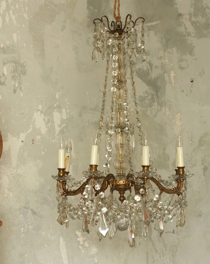 Antique European Crystal Chandelier Eight Arm-French, #patina,#Chandelier