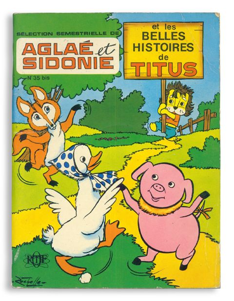 "Selection Semestrielle de Aglaé et Sidonie et les belles histoir Societe Francaise de presse Illustree / 1972 / 20.5*27cm softcover by saddle stitch 22pages This is the 2 TV doll animation series on Ortf. Clocktou, Aglaé, and Sidonie as the characters of "" Aglae et Sidonie"" are at the left side. Titus is quietly behind them. Each of series is composed of 3 stories (Totally 6 stories)."