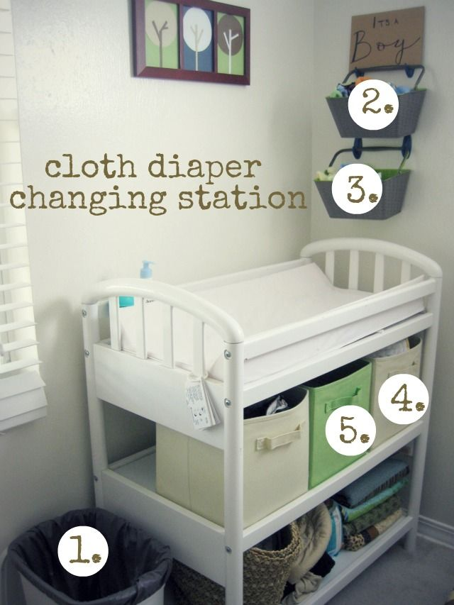 organizing prefolds on a changing table