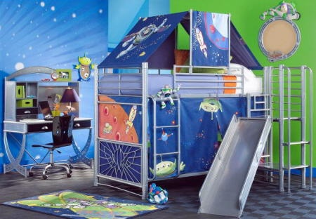 space ship theme, kid room- Not a fan of the color scheme,but the bed is awesome-.