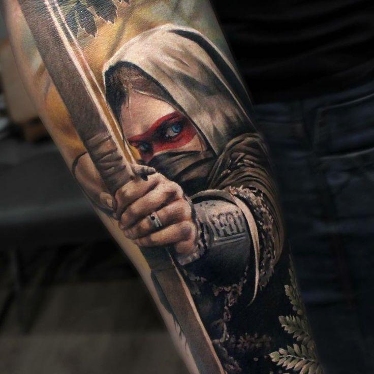 "5,164 Me gusta, 38 comentarios - Sandra Daukshta (@sandradaukshtatattoo) en Instagram: ""Close up of Archer I did lately. #inkedmagazine #tattoos #tattooartists #tattooartistmagazine…"""