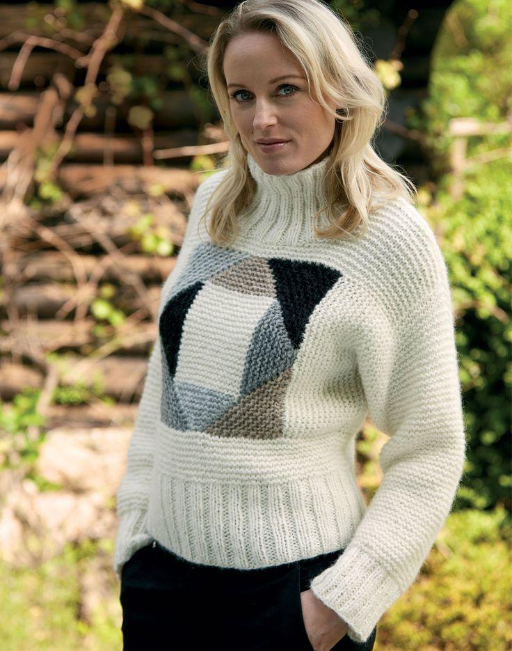 Белый свитер с квадратными вставками