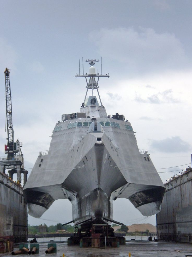 Check out the Independence-class LCS - A Rolling Airframe Missile launcher is mounted above the hangar for short-range defense against aircraft and cruise missiles, and .50-caliber gun mounts are provided topside
