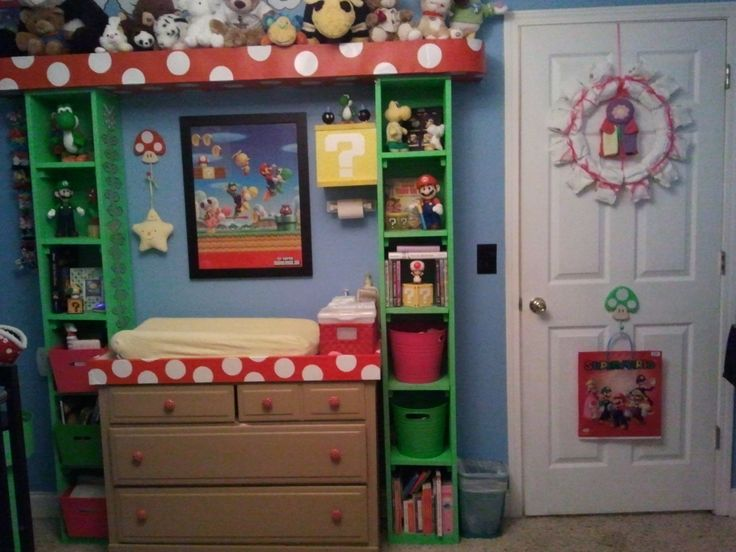 Super Mario Nursery  (Click for more pics)// this is amazing. We're going to have to have a ton of kids so I can do all the awesome nursery ideas I've seen!