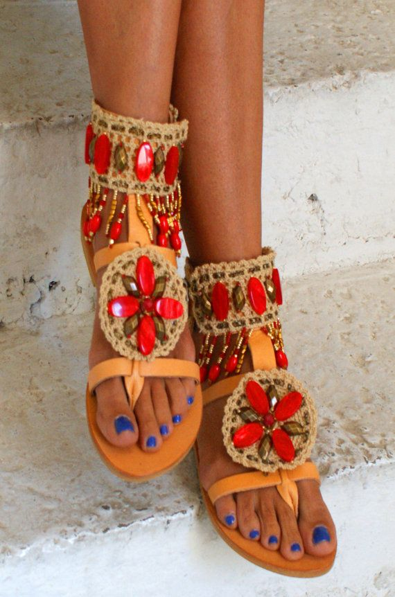 Ethnic Sandals/ Boho Sandals/ Leather Sandals/ by magosisters