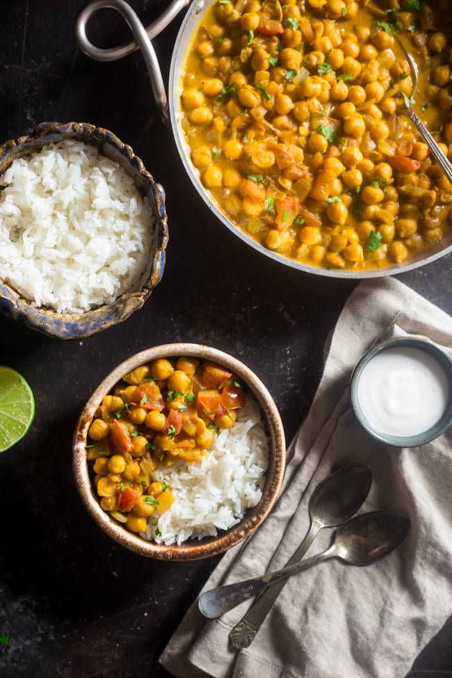 Vegan Chickpea Curry - A gluten free, 20-minute, weeknight dinner that's made extra creamy with coconut milk! It's perfect for a cozy, Meatless Monday meal! | Foodfaithfitness.com | @FoodFaithFit  It's a very mild flavor and delicious.