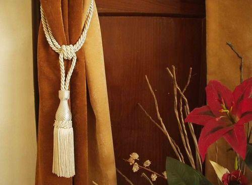 Cream handmade Curtain Tieback / Tiebacks / Tassel - Pair