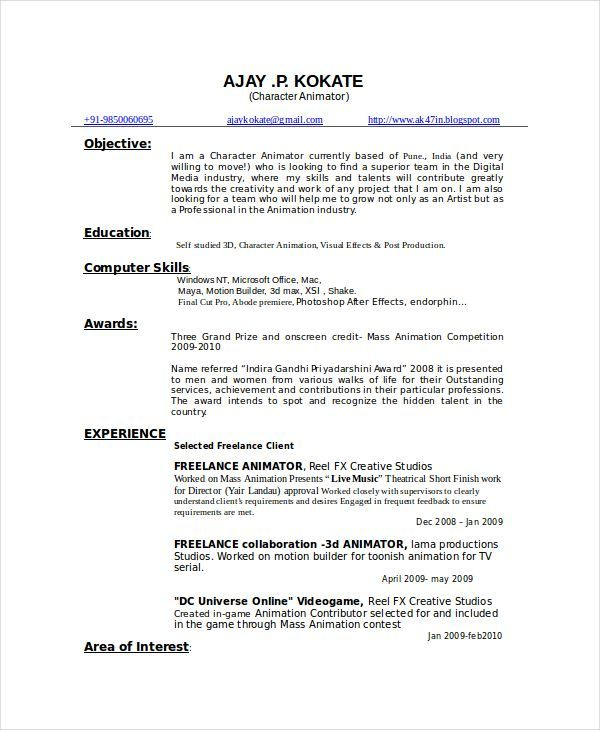 Resume Format 3d Animator Resume Templates Resume Format Download Sample Resume Format Resume Format