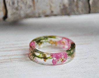 eco resin ring-REAL FLOWER RINGnature inspired by VyTvir on Etsy