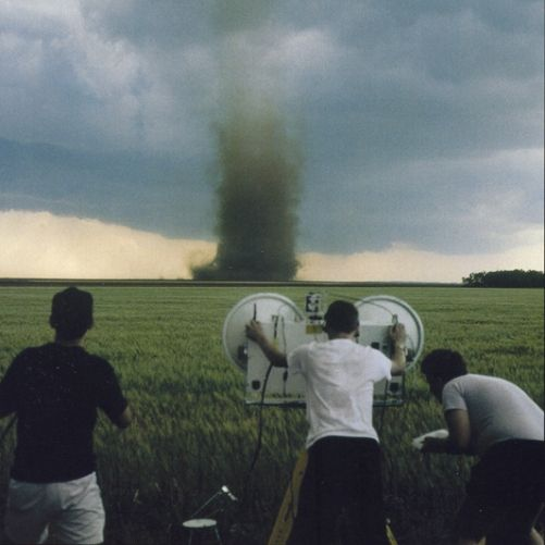 I call these guys crazy!!  Storm chasers, what a job!!