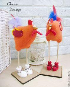 Купить Петушки !!! Новогодний сувенир. Оранжевый - оранжевый, петух, петух символ года