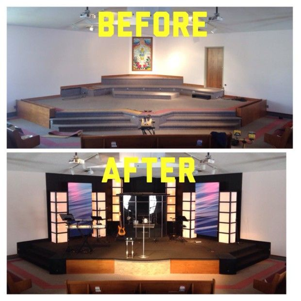 stage set idea for student area this stage isnt huge the impact of painting the wall black and using those light boxes is pretty cool - Small Church Stage Design Ideas