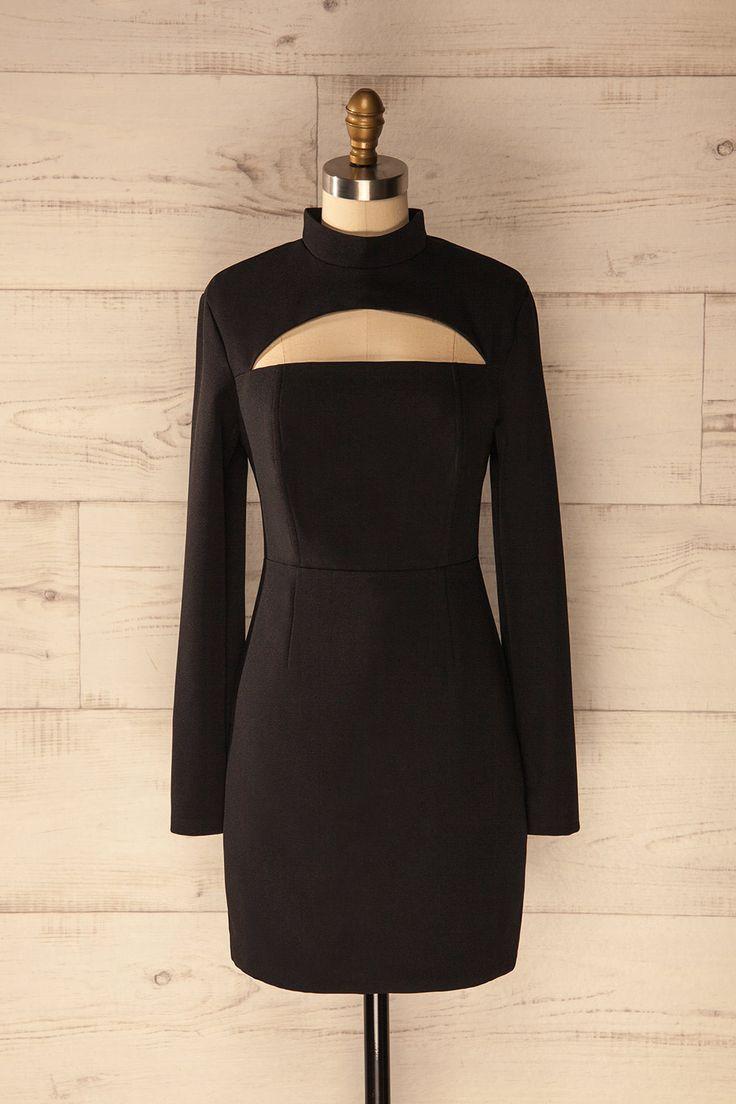 """« L'attitude est tout.» -Diane von Fürstenberg  """"Attitude is everything."""" -Diane von Fürstenberg Black cutout dress with high neck www.lapetitegarconne.ca"""