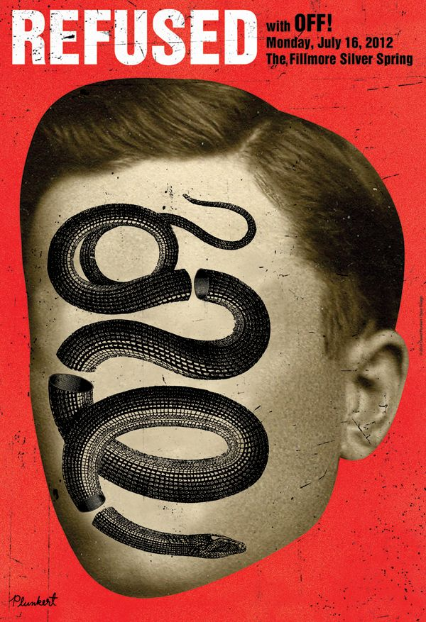 Concert Poster: Refused / OFF! ( Graphic Design / Screen Print / Music Flyer / Snake Motif )