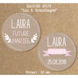 Badge EVJF Lin & branchages 56 mm