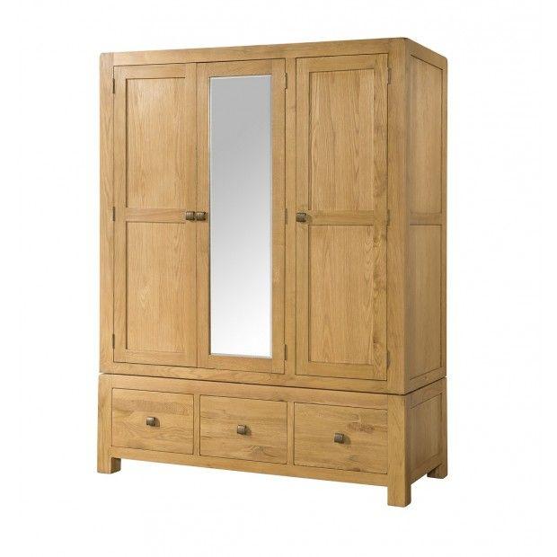 Fairfield Oak 3 Door Triple Wardrobe with Drawers | Oak Furniture UK