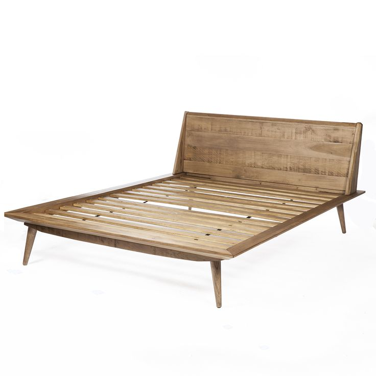 giorgio wooden queen size bed in solid natural wood finish in natural - Wooden Queen Bed Frame