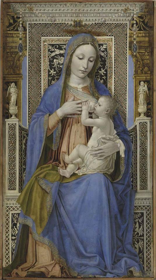 Ambrogio Bergognone (detto Da Fossano), Madonna in trono con il Bambino (1492- 94), olio su pannello.